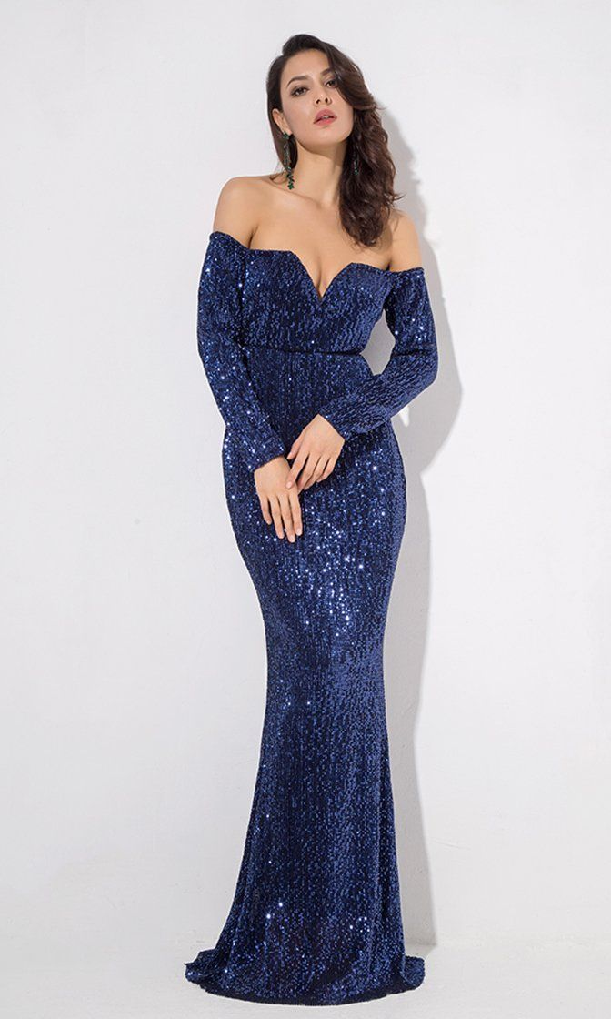 9a56e96e20132 Midnight Memories Navy Blue Sequin Long Sleeve Off The Shoulder V Neck  Sheath Maxi Dress