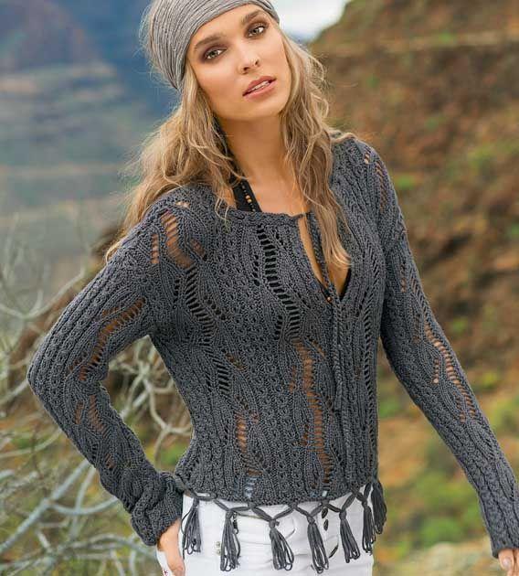 Ажурный пуловер с бахромой - схема вязания спицами. Вяжем Пуловеры на Verena.ru