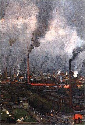 Enschede textielstad, ca 1916,  gedeelte van een schoolplaat