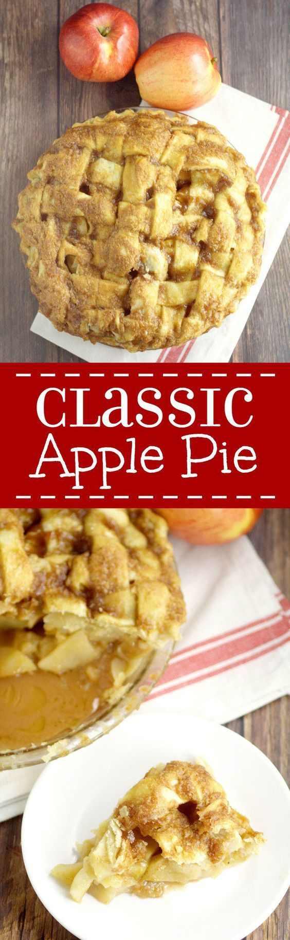 Classic sweet apple pie filling in a flaky pie crust topped with a glaze - this is a Thanksgiving dessert menu MUST! Classic Traditional Apple Pie Recipe | The Gracious Wife