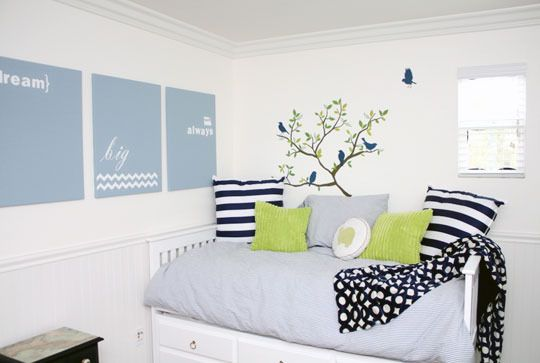 green navy boy room