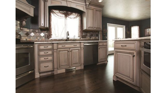 Driftwood, a light gray stain from StarMark Cabinetry ...