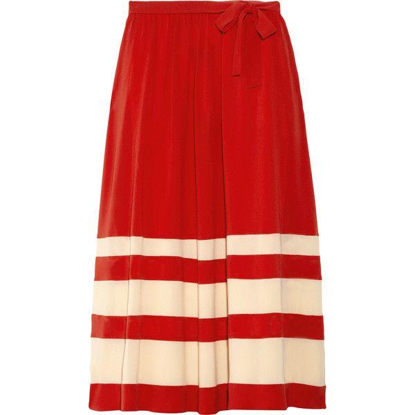 Sonia Rykiel Striped silk-crepe midi skirt ($561) ❤ liked on Polyvore