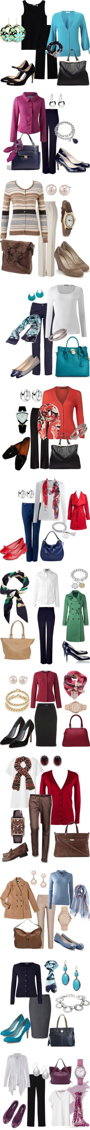 What to Wear for Work by annabouttown on Polyvore featuring Uniqlo, Monsoon, Ferrari, Miu Miu, Fantasy Jewelry Box, turquoise, tank tops, patent pumps, cardigans and black