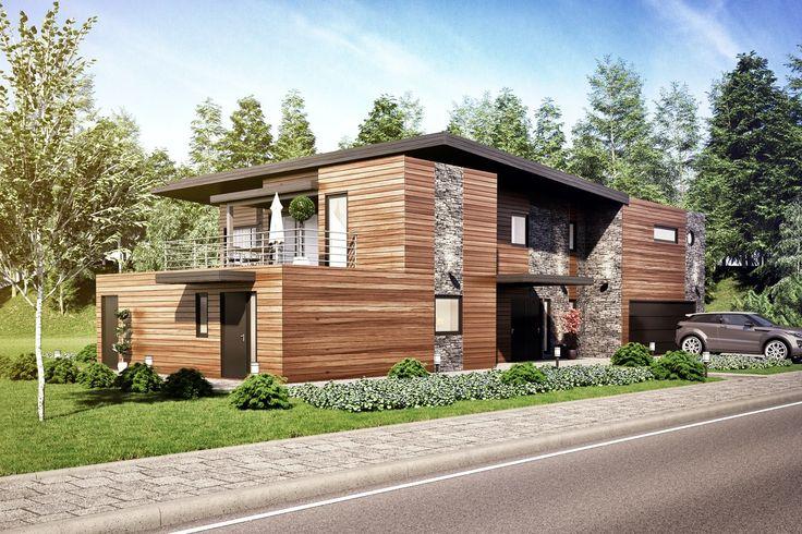 3D visualisering av moderne nybygg. Funkishus med uteledel og dobbelgarasjen integrert i huset.