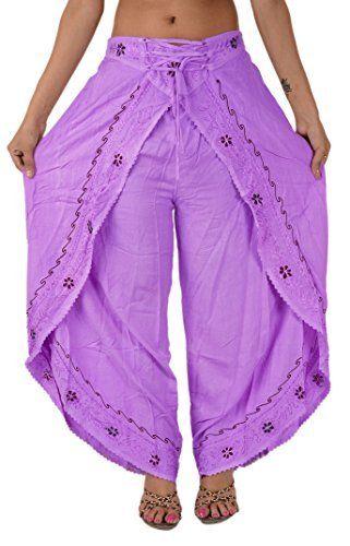 Amazon.com: Skirts N Scarves Women's Rayon Embroidered Aladdin Pant/Pajama (Purple): Clothing