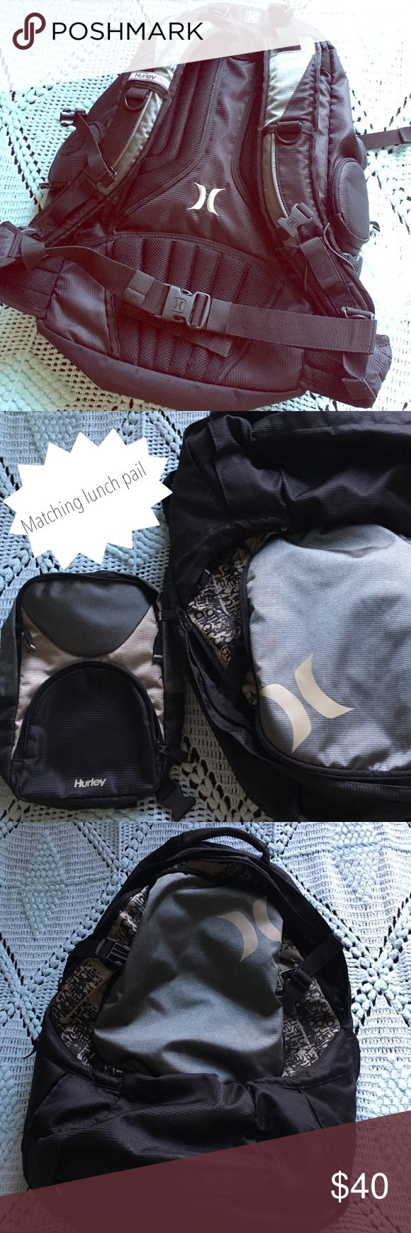 Heavy Duty Hurley Backpack - Hurley Backpack (Great Condition) - Black and Metallic Green Color - Adjustable Chest & Hip Straps - Padded Lower Back Area for Comfort - Includes Matching Lunch Pail - Three Zipper Compartments on Bottom Front - One Side Pouch for Insulated H2O Bottle - Large Front Compartment with Mesh Lining - Large Main Compartment with Plenty of Storage Space!  I did my best to label everything in the photos, but if you have any questions, please do not hesitate to ask :)…