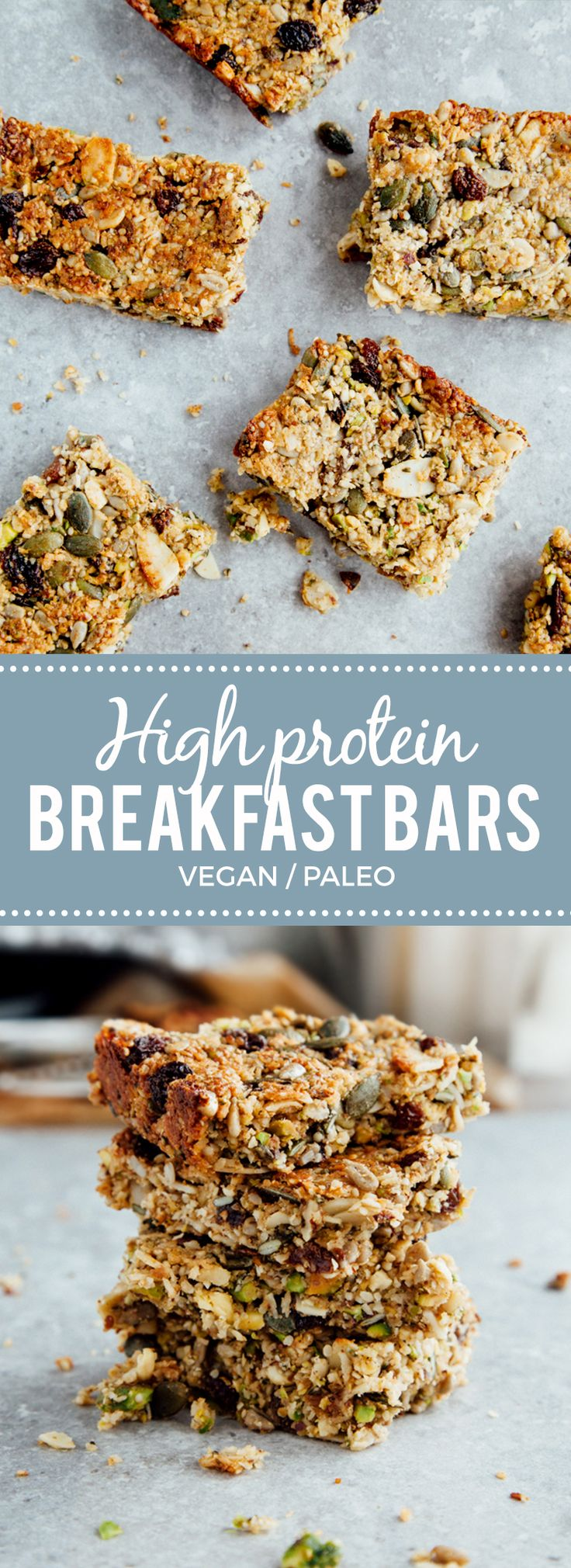 Protein Breakfast Bars (Vegan + Paleo) sub craisins for raisins and I'm in