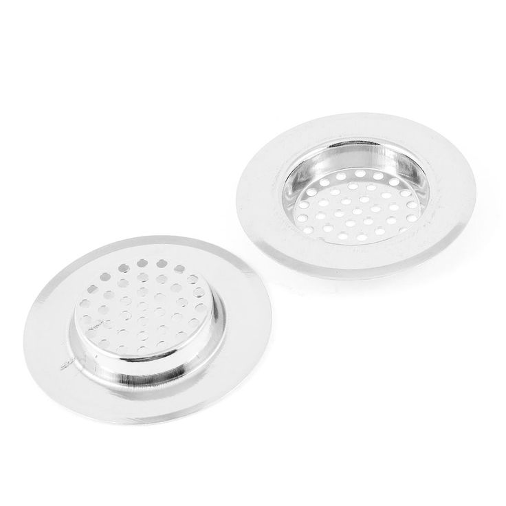 Unique Bargains 2 Pcs 2.5 Dia Stainless Steel (Silver) Kitchen Sink Strainer