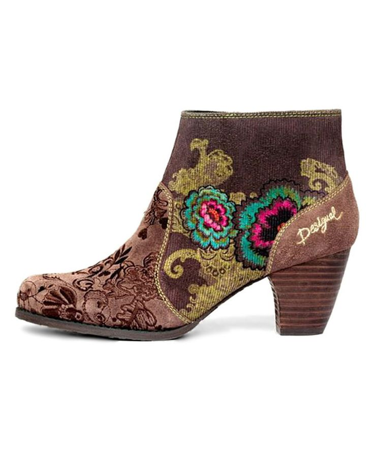 Look at this Marron Flower Bootie on #zulily today!