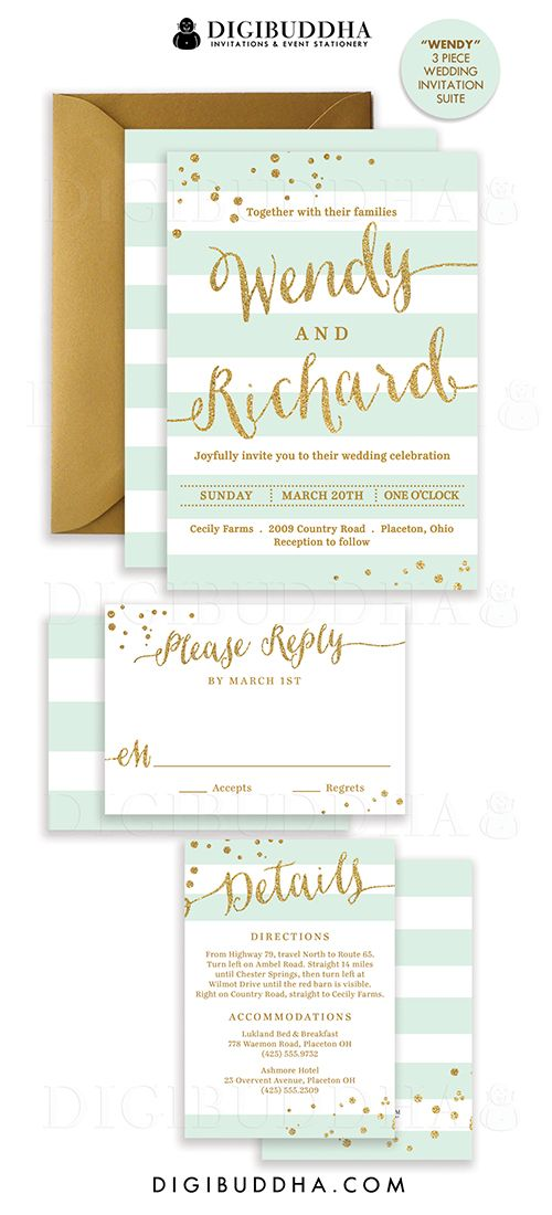 Elegant modern mint & gold stripe wedding invitations in a 3 piece suite including RSVP reply card and Details / Info enclosure card. Coordinating backers, gold glitter confetti sparkle details. Color envelopes, envelope liners and belly bands also available. digibuddha.com