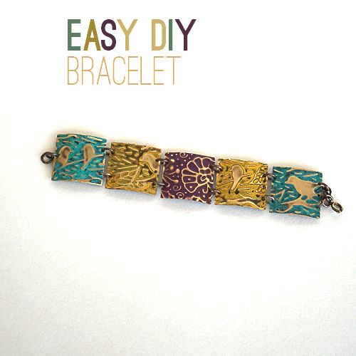 DIY Square Embossed Bracelet @Sizzix_US @savedbyloves