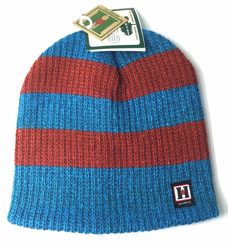 Recycled Cotton and Hemp Wallaby Rugby Beanie (Aqua & Rust)