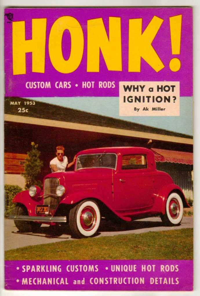honk may 1953 1 old vintage car magazine classic custom hot rod dragster coupe vintage car. Black Bedroom Furniture Sets. Home Design Ideas