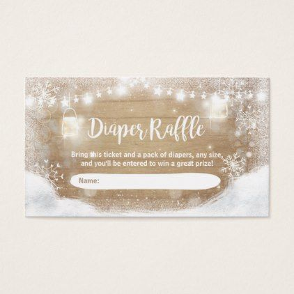 Winter Baby Shower Diaper Raffle Card Rustic Snow - baby gifts child new born gift idea diy cyo special unique design