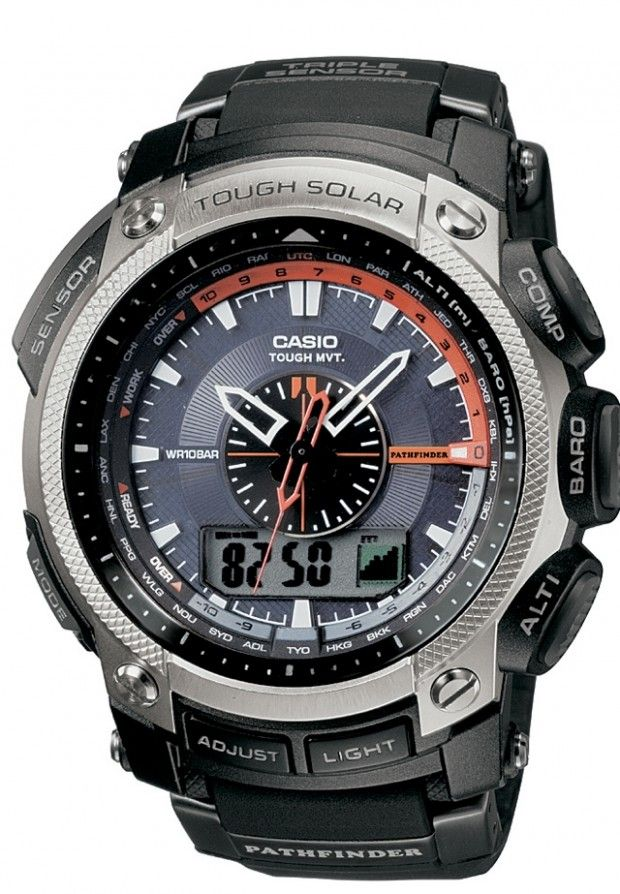 Casio Pathfinder PAW5000-1. These largish watches feature a barometer, thermometer, built-in compass, altimeter, and this model is powered by the sun