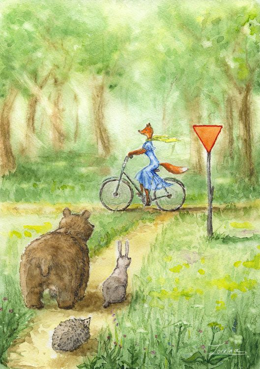 Watercolor hand painting fox with bike in summer forest. Green illustration with animals. JPG download. High resolution printable digital  by ZorrinaArt