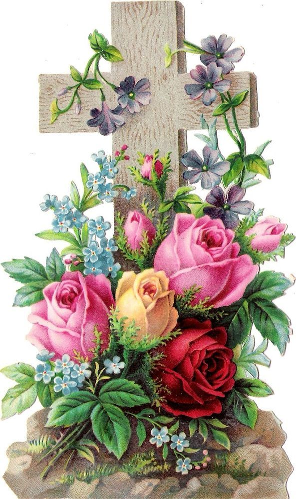 Oblaten Glanzbild scrap die cut chromo Kreuz 15,8 cm cross Rose