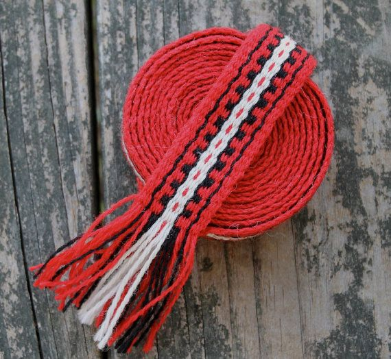 Inkle Woven Wool Band Scarlet and Black by inkleing on Etsy, $26.00