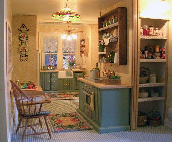 Mini Kitchen Room Box: Victorian Gothic Cottage Kitchen. Farmhouse Sink And