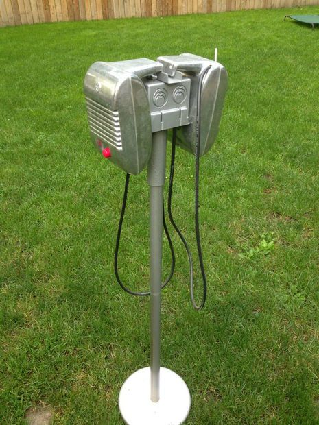 vintage drive-in movie speakers as an outside sound system