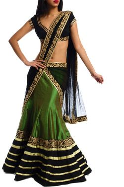 Navy blue saree with green lehnga
