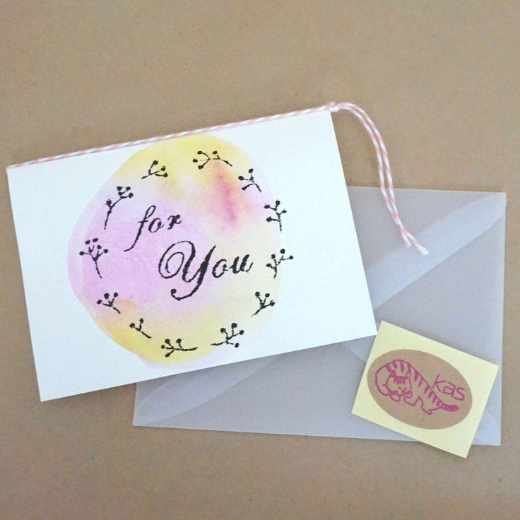 ガリ版印刷グリーティングカード「For You」(テクスチャー)の画像1枚目