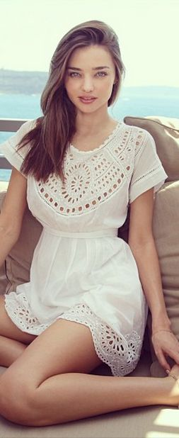 eyelet white dress-so pretty for summer: Miranda Kerr Women's casual spring summer fashion clothing outfit