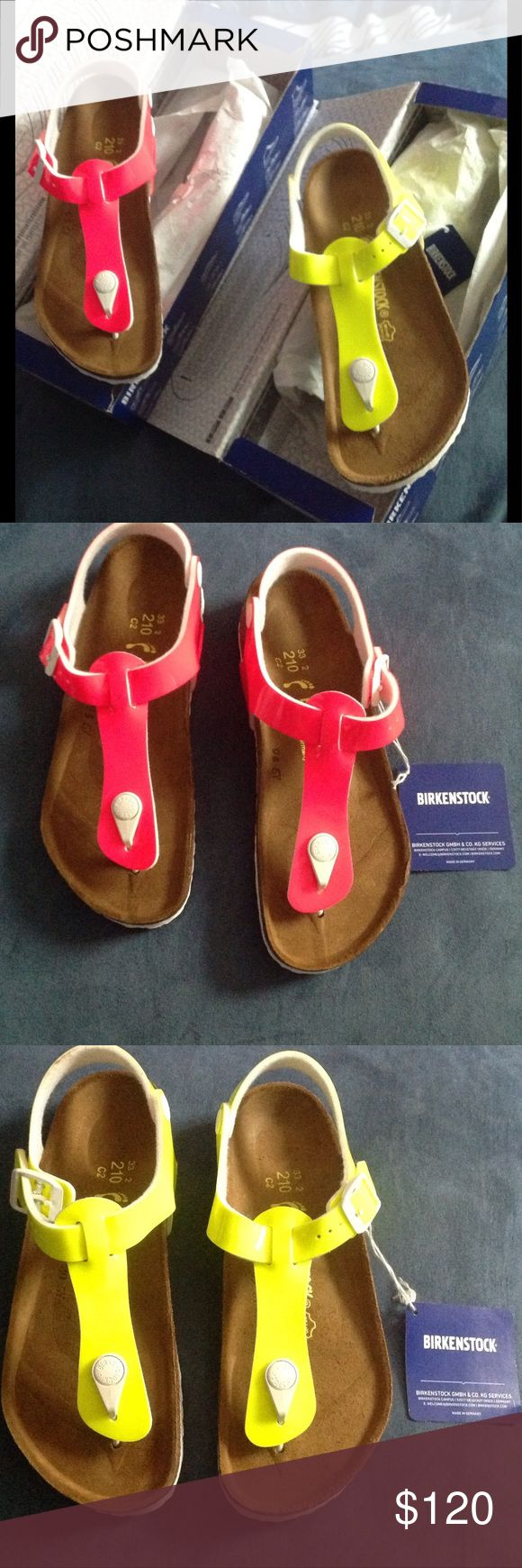 Kids Birkenstocks (2 Pairs) SUPER CUTE Kids Birkenstocks in the style kairo.... Bought these for my god daughter but they didn't fit her and I don't remember where I put the receipt. These are completely new and both are the same size. Payed about 83 for each pair with tax. Listing is for both pairs. NO TRADES. Sandals each come with their boxes (: make me a reasonable offer, we can maybe come to an agreement (: Birkenstock Shoes Sandals & Flip Flops