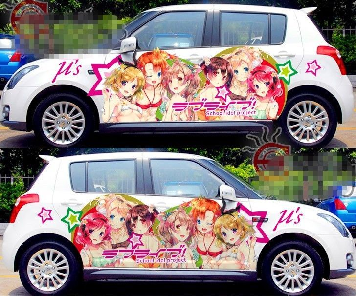 Car Side Full Color Graphics Vinyl Decal Sticker Manga Anime Sexy - Car anime stickers