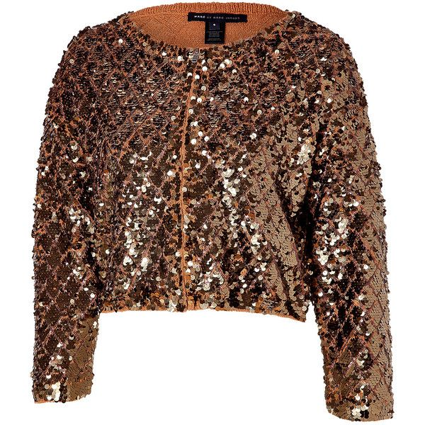 MARC BY MARC JACOBS Camel cropped sequin cardigan ($159) ❤ liked on Polyvore featuring tops, cardigans, jackets, outerwear, blazer, cut-out crop tops, cropped cardigan, marc by marc jacobs cardigan, marc by marc jacobs top and cotton crop top
