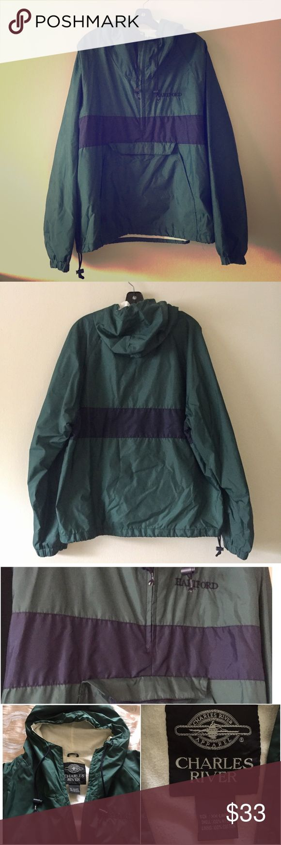 Charles River Wind Breaker Pull Over Rain Jacket Men's XXL but also perfect for women. Hartford text on the left.  In an excellent condition.                                   🖇 The color is green with navy blur stripe.  🖇 Elastiv wrists band 🖇 Pull Chord Hood 🖇 Front pocket from 2 sides + enclosed front pocket Charles River Jackets & Coats Raincoats