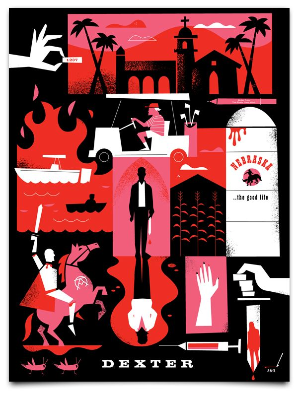 E começou a sétima temporada de Dexter =D  Poster que retrata o que aconteceu na temporada anterior.