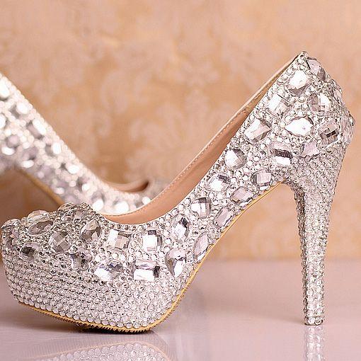 chaussures femme aux strass pas cher escarpin mariage discount au talon aiguille chaussure de marie scintillante - Chaussure Mariage Femme Gemo