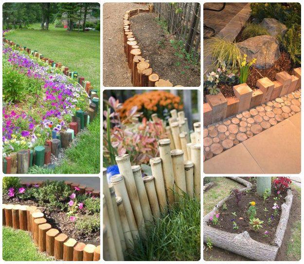 72 best garden edging images on pinterest edging ideas for Wooden flower bed ideas