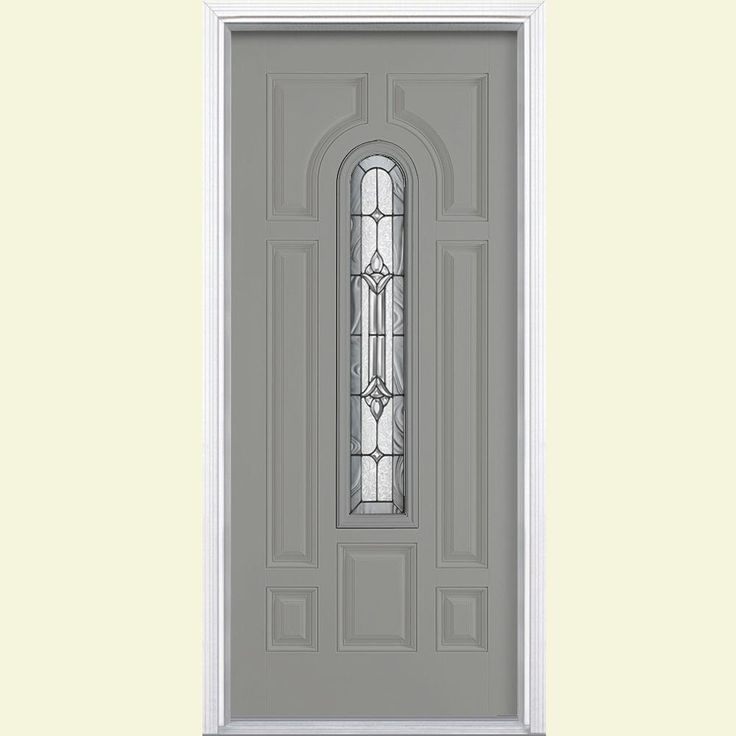 Masonite 36 in. x 80 in. Providence Center Arch Painted Steel Prehung Front Door with Brickmold-36492 - The Home Depot