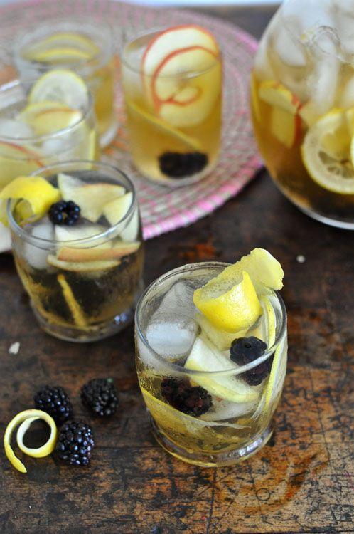 Apple Blackberry Hard Cider Sangria - Hard Cider, Sparkling Cider, Calvados, Lemon, Apple, Blackberries