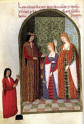 1492: Blond Joanna of Castile at 13, with parents Ferdinand II of Aragon and Isabella I of Castile.