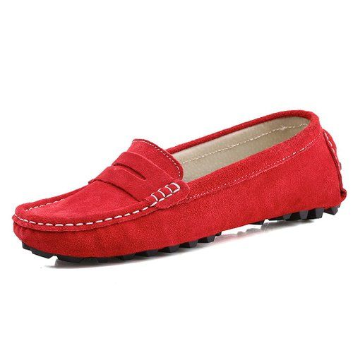 Amazon.com: SUNROLAN Rebacca Women's Suede Leather Driving Moccasins Slip-On Penny Loafers Boat Shoes Flats: Shoes