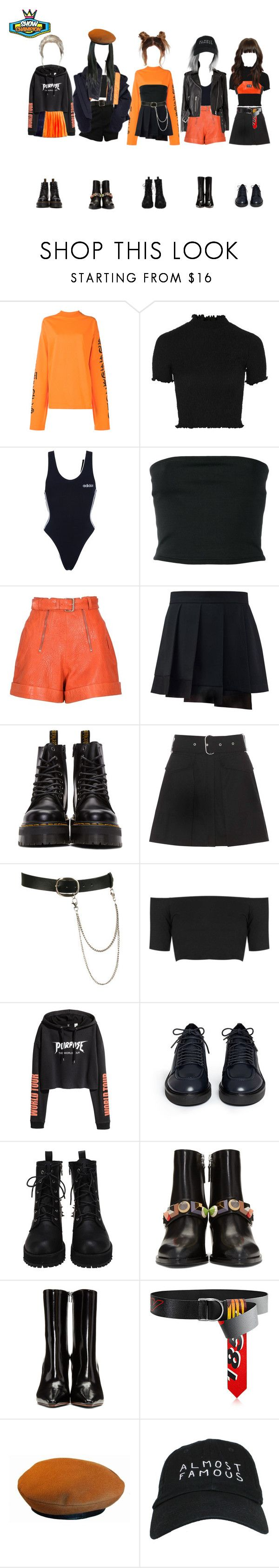 """Show Champion: 썸 (Goodbye Stage)"" by ingenueotaku ❤ liked on Polyvore featuring Vetements, Topshop, VFiles, adidas, Balmain, Carven, Dr. Martens, Acne Studios, Wet Seal and Ash"