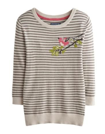 Joules Womens Sweater, Bullfinch Neutral Stripe.                     Take a walk on the wildside with this super soft Sweater. Adorned with a cool animal intarsia that's sure to raise a smile whenever it makes and appearance, this Sweater is great to add character to your wardrobe.