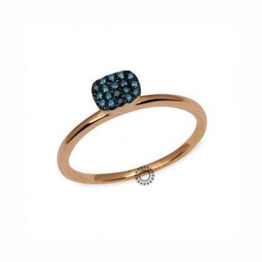 Δαχτυλίδι με πράσινα διαμάντια σε πετρόλ-οινοπνευματί απόχρωση από ροζ χρυσό Κ18 με μαύρο πλατίνωμα | Δαχτυλίδια με διαμάντια ΤΣΑΛΔΑΡΗΣ στο Χαλάνδρι #πετρολ #διαμάντια #δαχτυλιδι #rings #diamonds