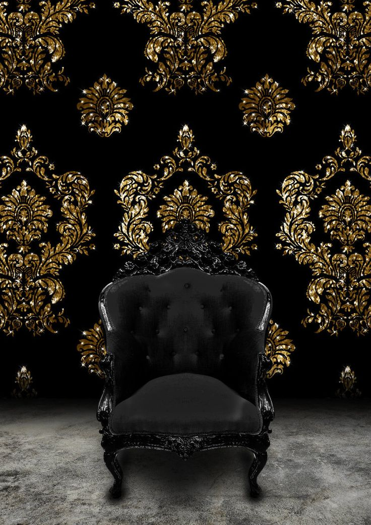 Superb Formal Dining Room Idea   Black Baroque Chair And Black Velvet And Gold  Damask Wallpaper. [zen And The Art Of Darkness] Rococo Loco Nero
