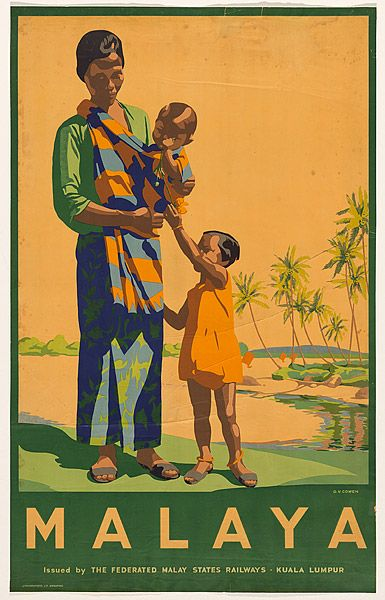 """Malaya"" ca. 1930s. Artist: D. V. Cowen. Publisher: Federated Malay States Railways (National Gallery of Australia)"