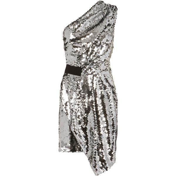 Carven One Shoulder Silver Sequin Dress ($490) ❤ liked on Polyvore featuring dresses, single shoulder dress, sequin dress, off one shoulder dress, silver sequin embellished dress and white silver dress