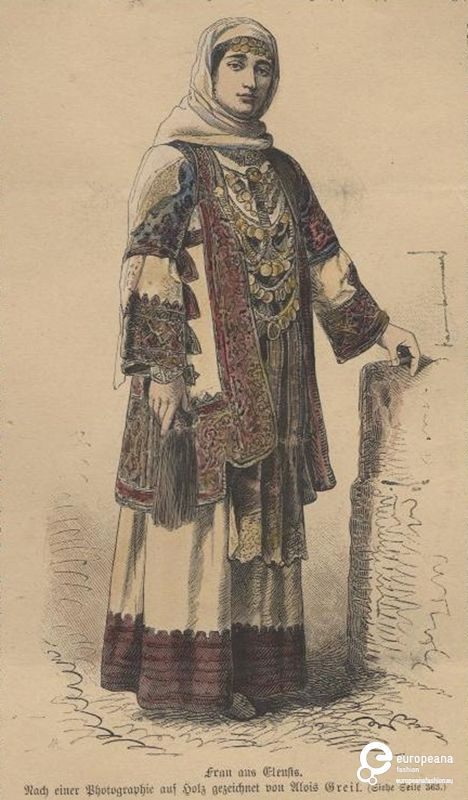 Engraving Tinted sketch of a woman with costume from Elefsina, Attica, Greece. Date: 1880 Institution: Peloponnesian Folklore Foundation Provider: Europeana Fashion