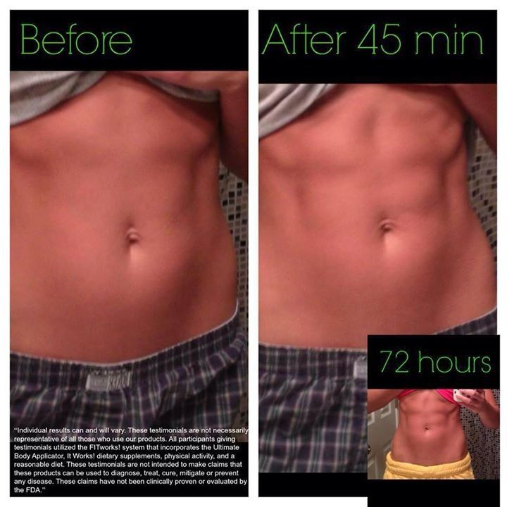 """Wraps work on very fit people too! body builders, Miss Oklahoma... all used It Works wraps before competition! GO to www.mandymaberry.myitworks.com Click SHOP, type """"ultimate body applicator""""in the"""