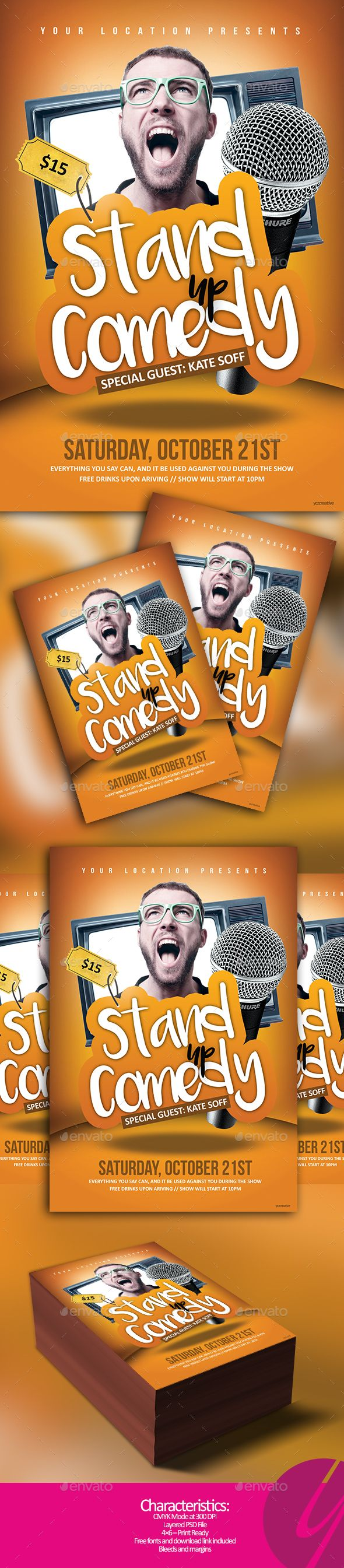 Stand Up Comedy Night — Photoshop PSD #drink #microphone • Available here → https://graphicriver.net/item/stand-up-comedy-night/17729908?ref=pxcr