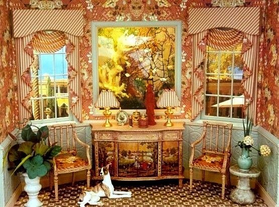 Dollhouse Decorating   Curtains: 3 Tricks To Disguise Window Size   http://dollhousedecoratingblog.com