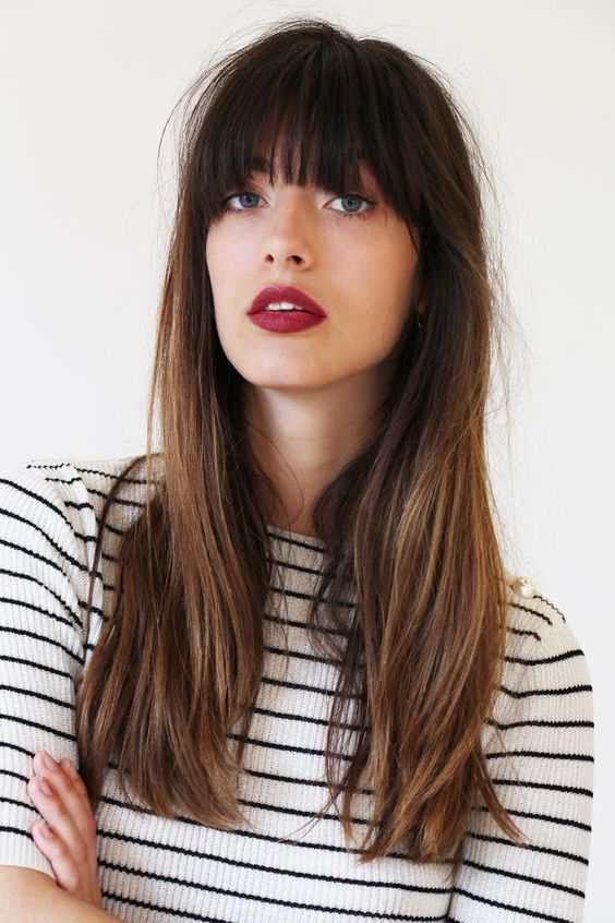 Long hair with long bangs. Lived in highlights. Natural color. French style vibes. Cheveux longs avec frange